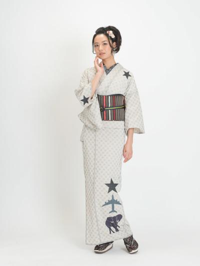 レディース ドットドビー 星・飛行機・象(シロ)F