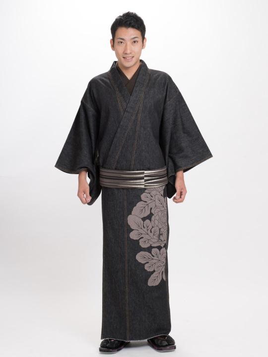 メンズデニム13OZ 菊シルエット・上ロゴ(BK×金茶)