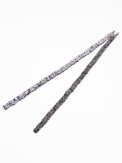 羽織紐 ビーズ (シルバー×シロ)L