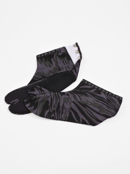 足袋 メタミラー 綿プリント (グレーカーキ)
