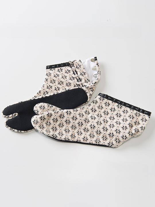 足袋 フラワーレース(白×サーモンピンク)