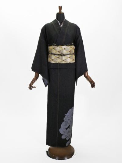 レディースデニム着物10.5OZ 菊シルエット・上ロゴ(BK×金茶)F