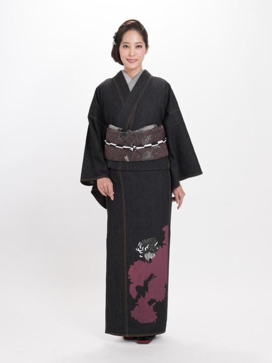 レディースデニム着物10.5OZ 菊シルエット・刺繍菊�A(BK×金茶)F