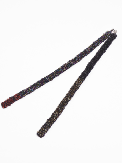 羽織紐 ビーズ (マルチ×クロ)S