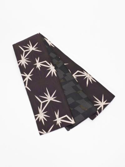 半巾帯0116-08 麻の葉柄(深紫系)