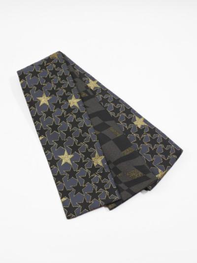 半巾帯0118-06 星柄(グレー×黒)