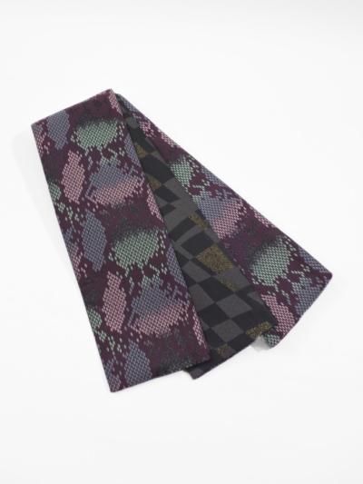 半巾帯0047-07 パイソン(紫×グリーン×ピンク)